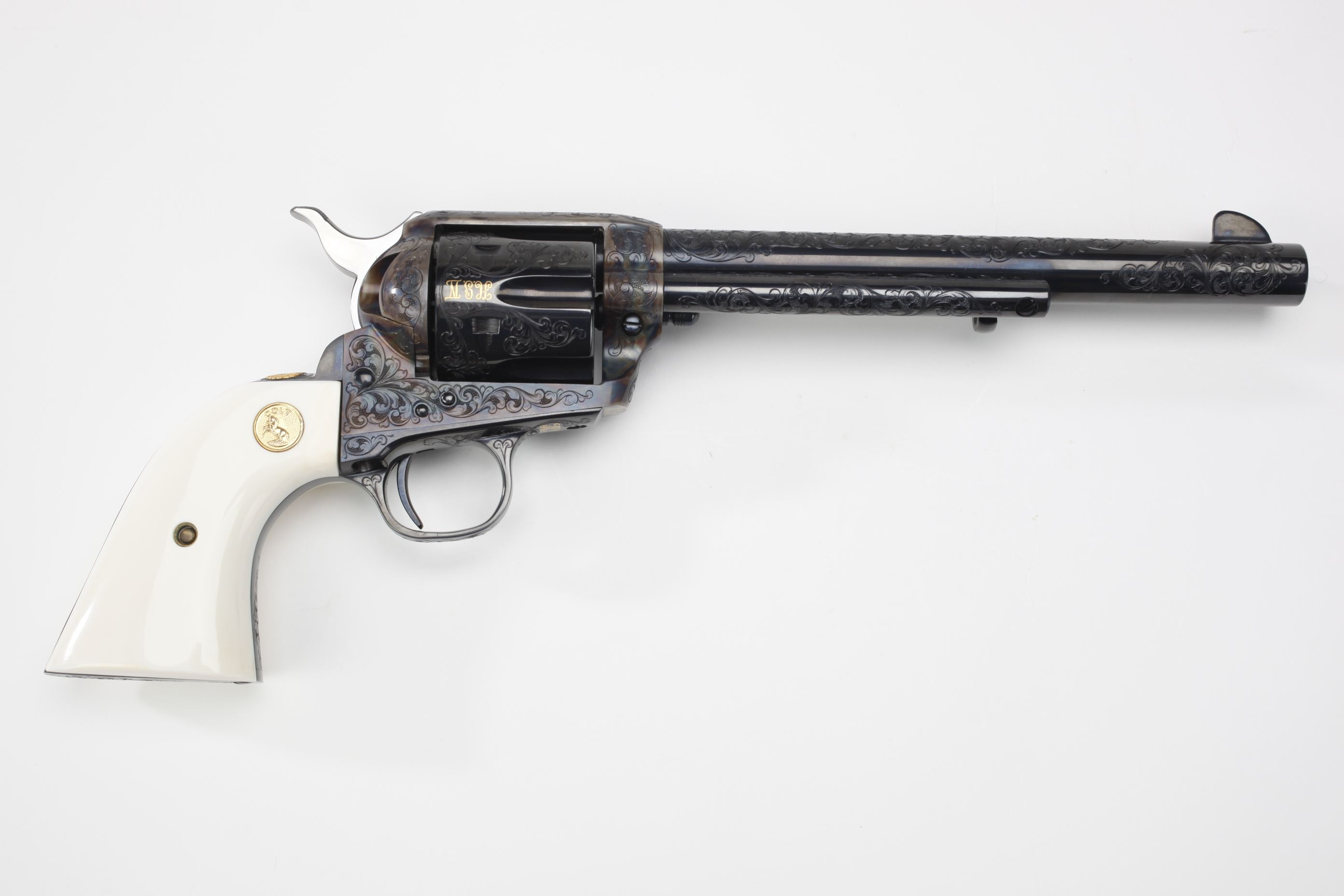 Colt Engraved Single Action Army Revolver w/ ivory grip panels